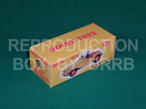 Dinky #102 MG Midget Sports - Reproduction Box ( Orange with Red Seats )